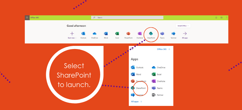 select sharepoint to launch