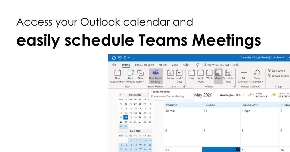 Access your Outlook calendar and easily schedule Teams Meetings