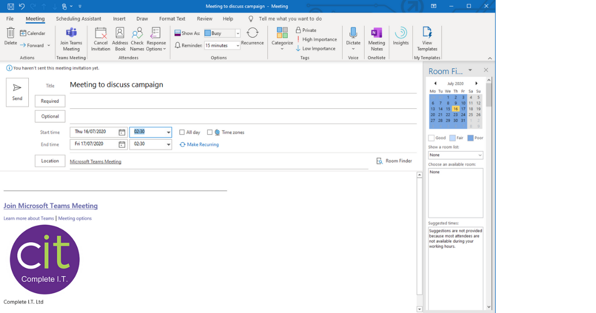 Create a Teams Meeting Via outlook