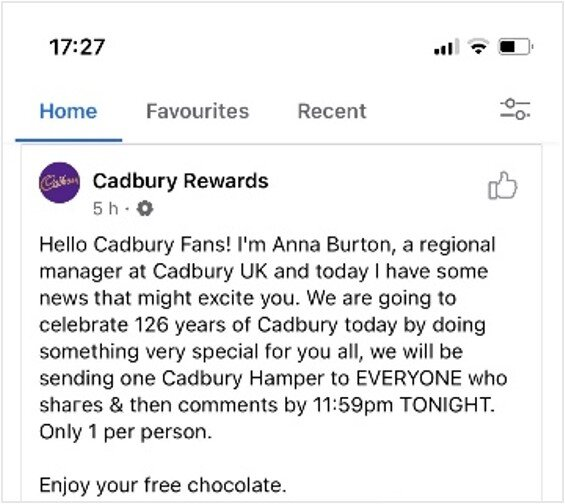 Cadbury Rewards Scam