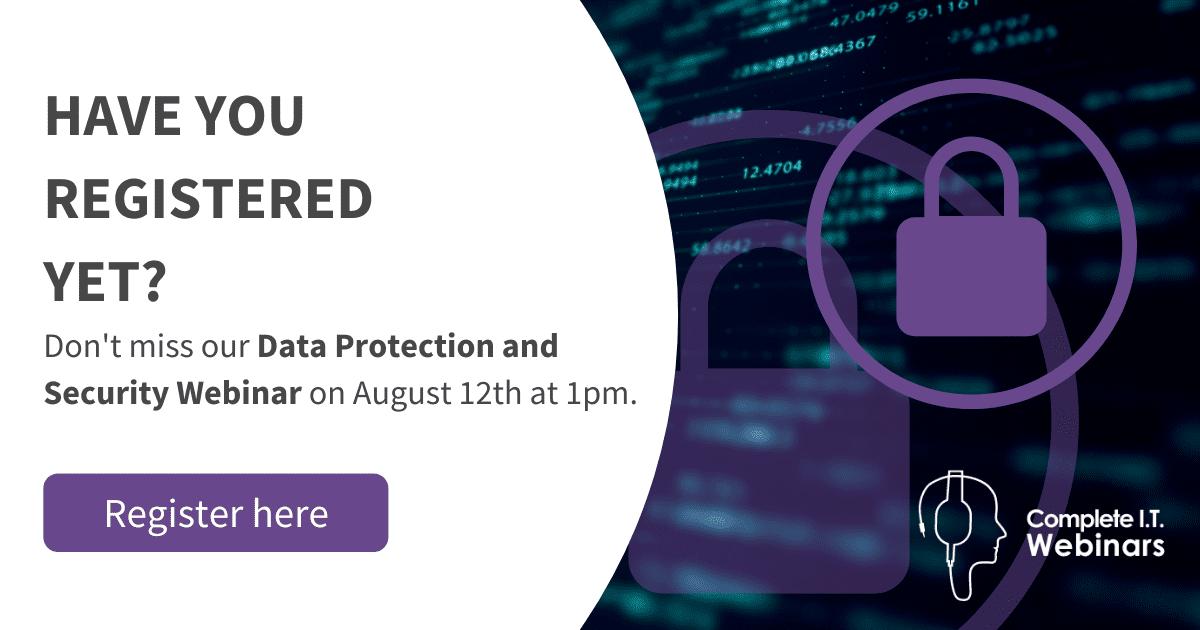 Website Pop up - Have you registered yet data protection Webinar